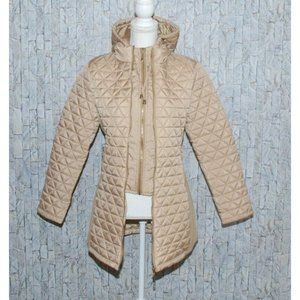 Daisy Quilted Tan Zip Up Jacket Parka Size S Hood